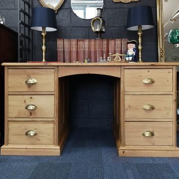 SOLD-Pine Pedestal Desk