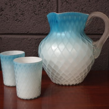 Stunning Satin glass Jug & Tumblers