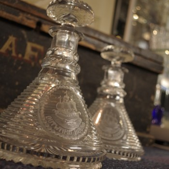 Pair Stuart Glass Ship's Decanters
