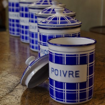 French Enamel Canisters