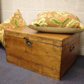 SOLD-Antique Pine Workbox/Trunk