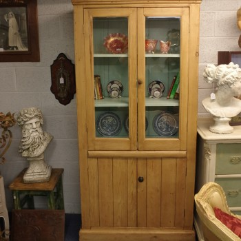 SOLD-Stripped Pine Glazed Cabinet