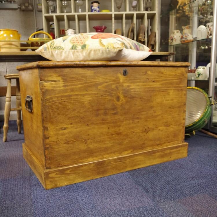 SOLD-Antique Pine Trunk