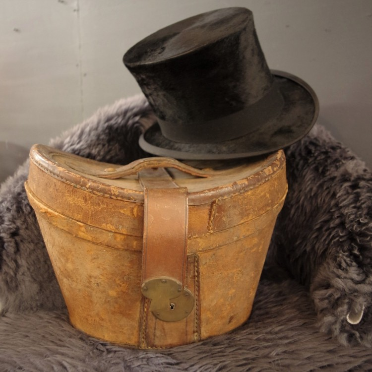 SOLD-Leather Hat Box and Top Hat