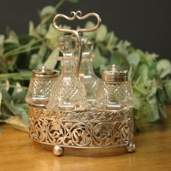 Silver & Cut Glass Cruet