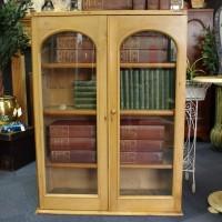 SOLD-Glazed Pine Bookcase