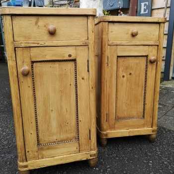 Pair Antique Pine Bedside Cabinets